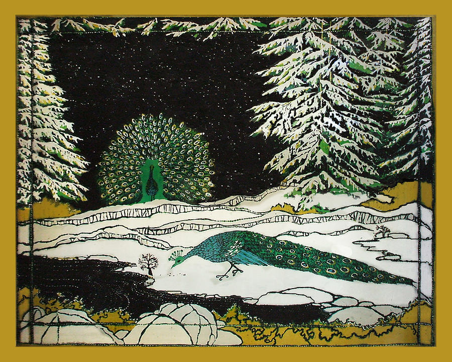 Peacocks Tapestry - Textile - Peacocks In The Snow by Alexandra  Sanders