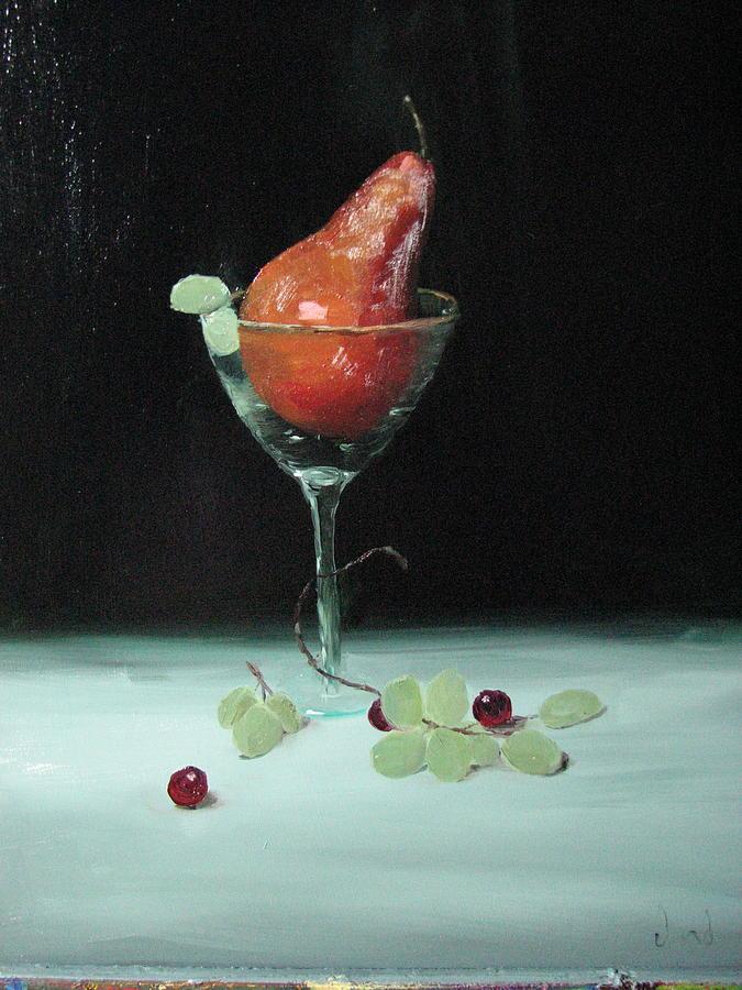 Martini Glass Painting - Pear In Martini Glass by Iris Nazario Dziadul