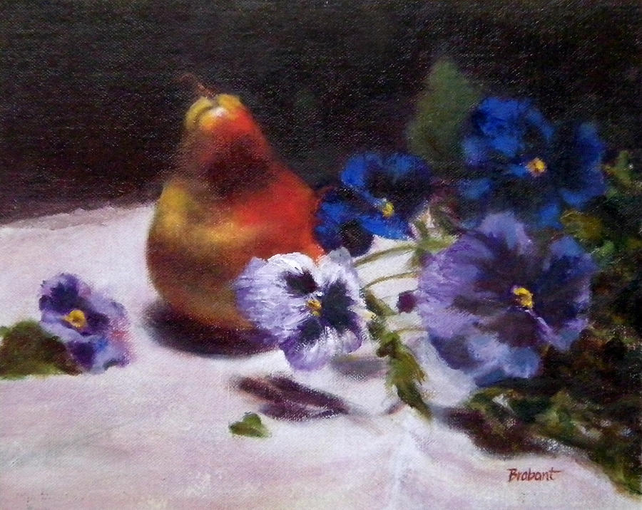 Fruit Painting - Pear With  Purple Pansies by Jill Brabant