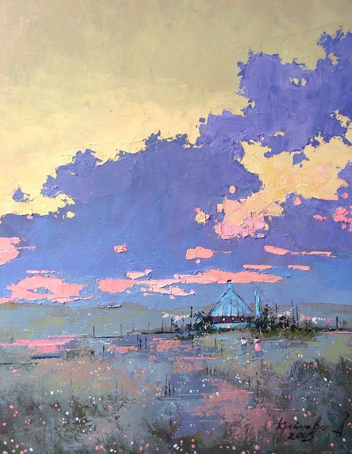 Landscape Painting - Pearl Morning by Anastasija Kraineva