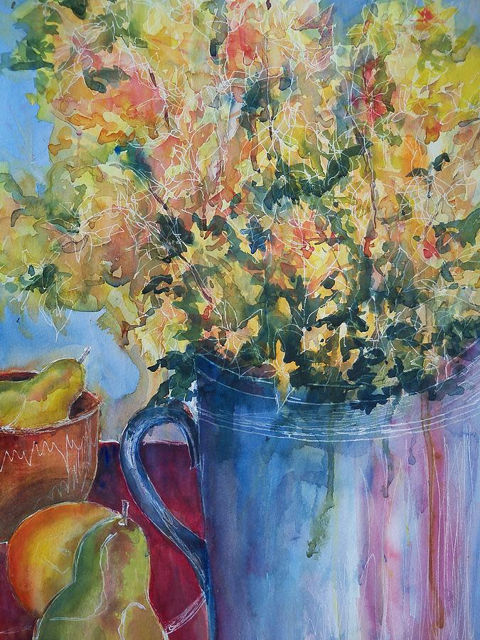 Kitchen Painting - Pears And Petals by Sandy Collier