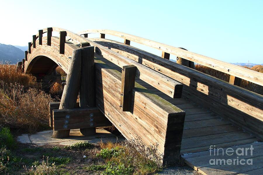 Bridge Photograph - Pedestrian Bridge At Martinez Regional Shoreline Park In Martinez California . 7d10513 by Wingsdomain Art and Photography