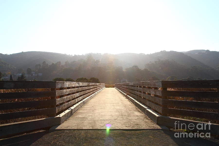 Bridge Photograph - Pedestrian Bridge At Martinez Regional Shoreline Park In Martinez California . 7d10534 by Wingsdomain Art and Photography