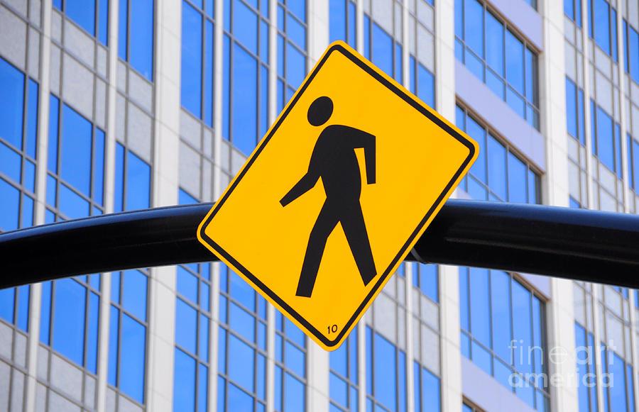 Pedestrian Photograph - Pedestrian Crosswalk Sign In Business District by Gary Whitton