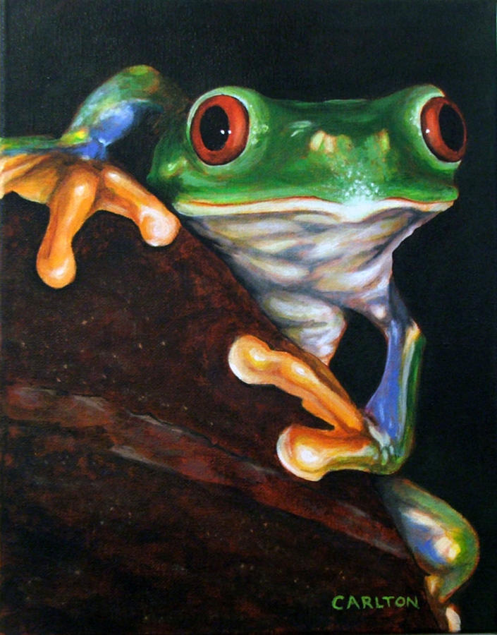 Toad Painting - Peek-a-boo Frog by Brian Carlton