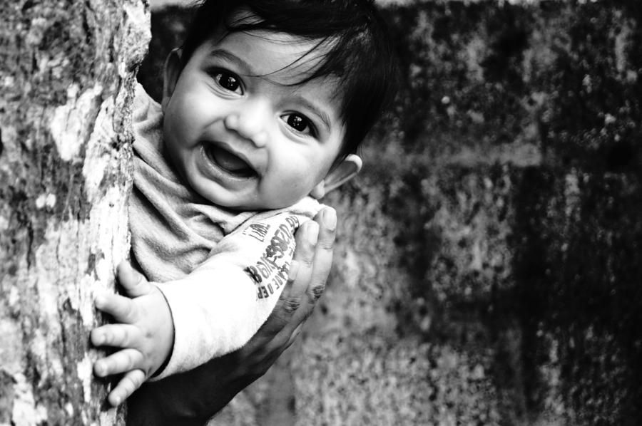 Baby Pyrography - Peek A Boo  by Priyanka  Gopakumar