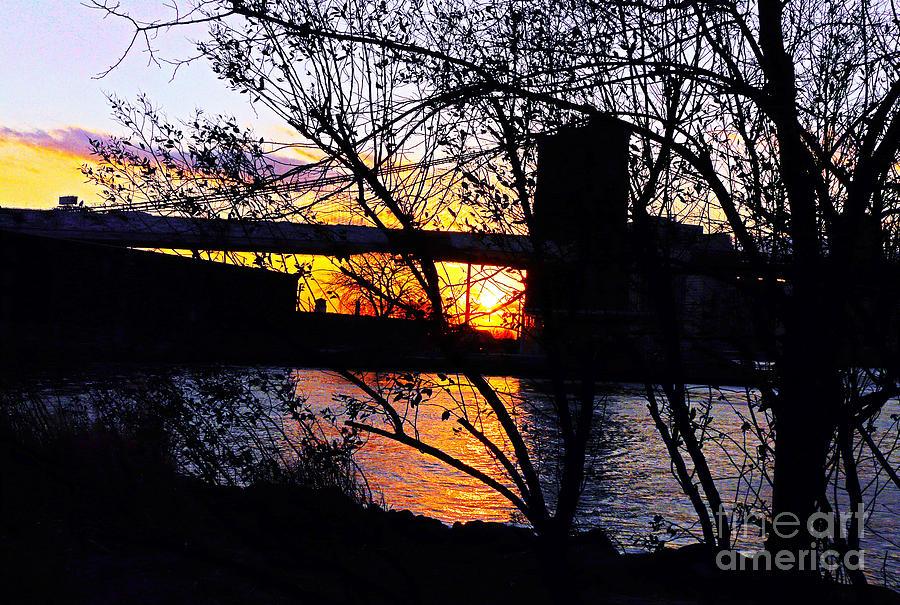 Sunset Photograph - Peeking At The Bridge by Kendall Eutemey
