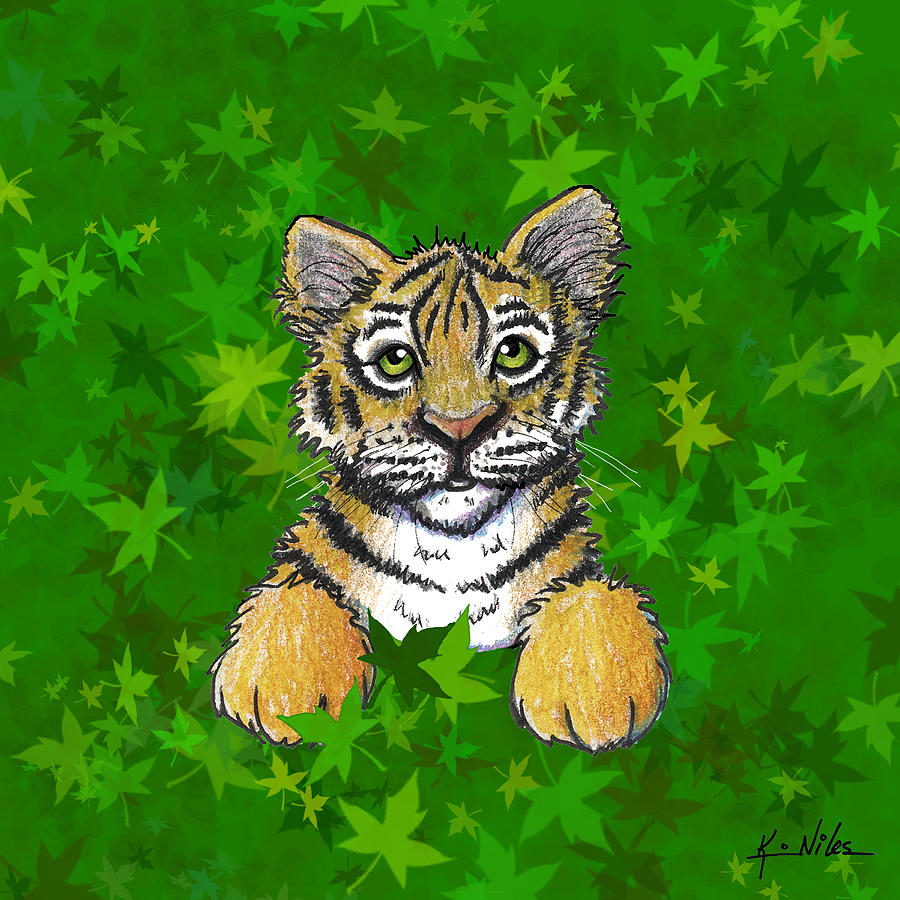 Tiger Digital Art - Peeking Tiger by Kim Niles