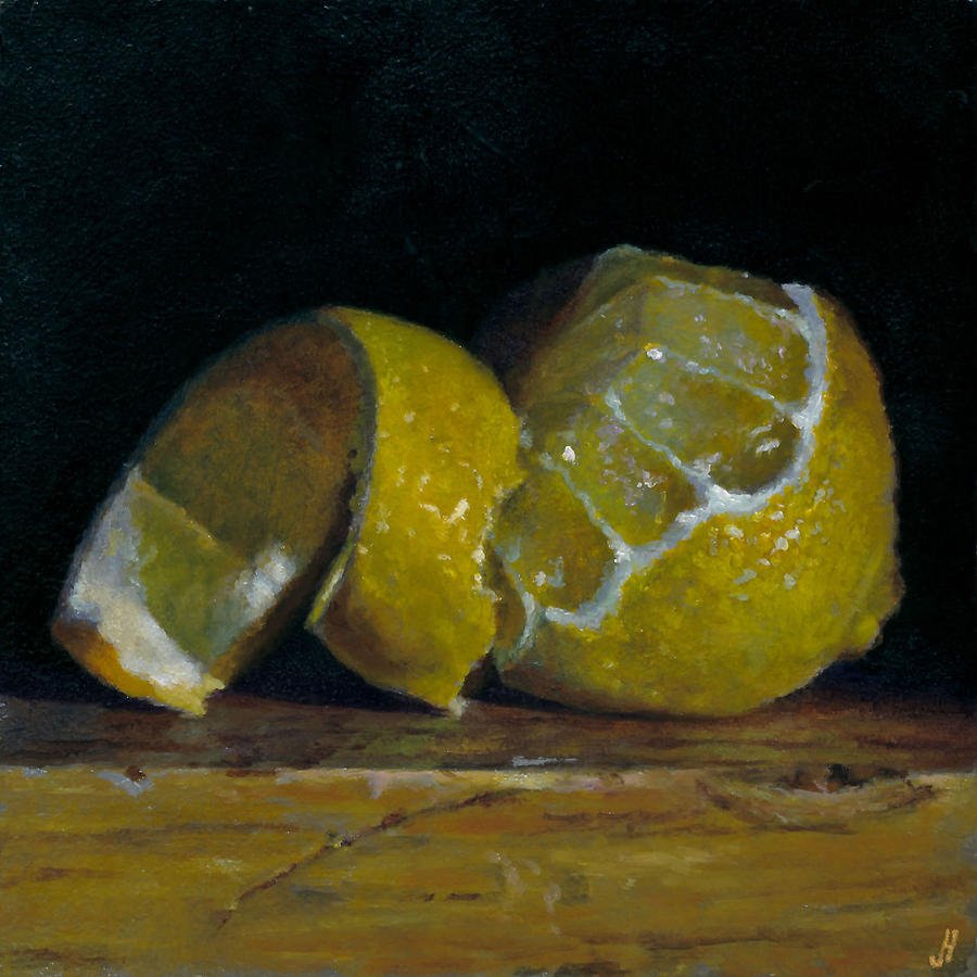 Still Life Painting - Peeled Lemon by Jeffrey Hayes