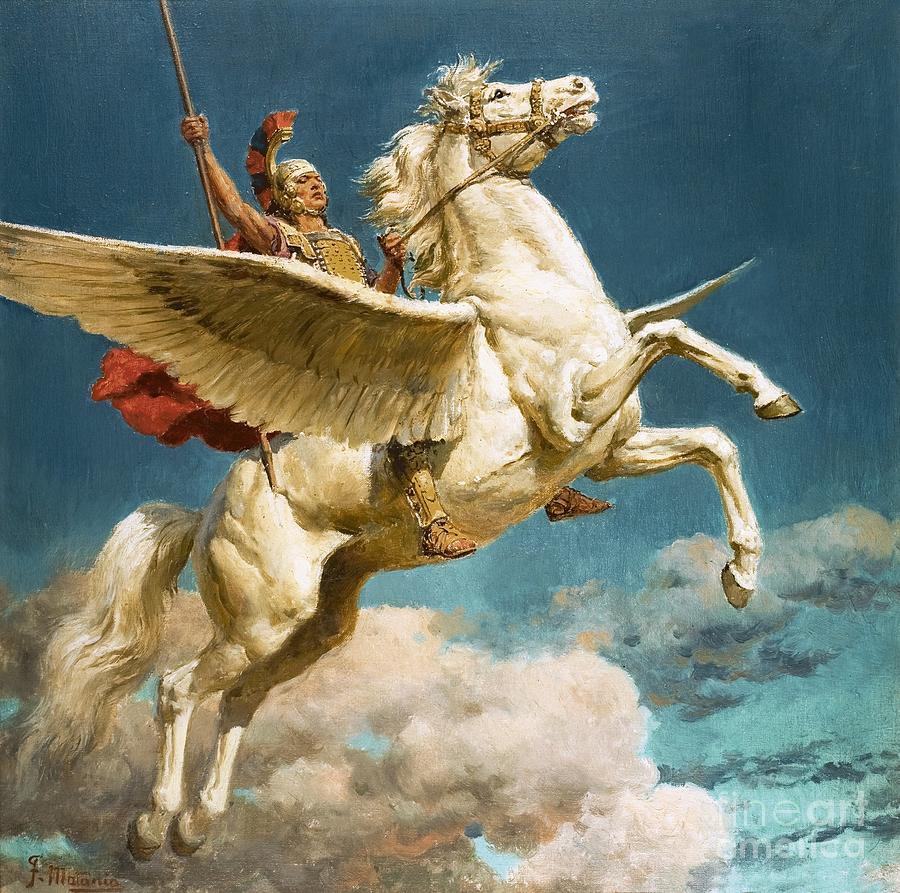 Pegasus Painting - Pegasus The Winged Horse by Fortunino Matania