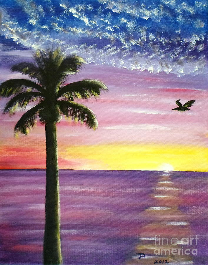 Pelican and palm tree sunset painting by diane wigstone for Painting palm trees