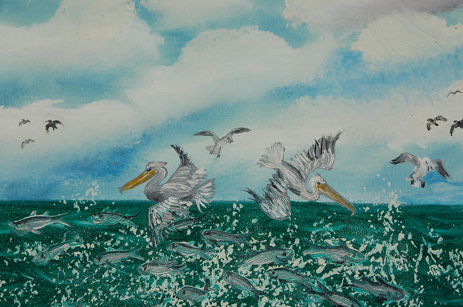 Pelicans Painting - Pelican Feast by Katheryn Napier