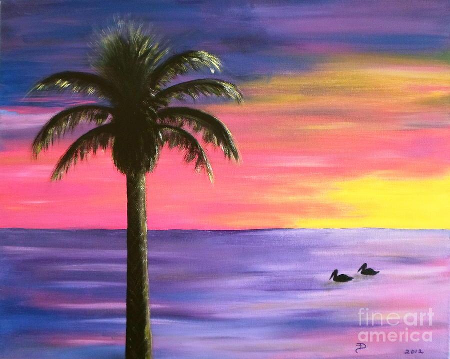 Pelican Pair Purple Sunset Painting By Diane Wigstone