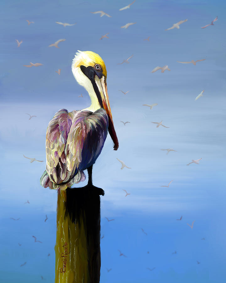 Bird Painting - Pelican Perch by Suni Roveto