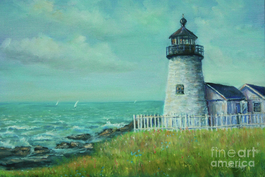 Water Painting - Pemaquid Point Lighthouse by Katalin Luczay