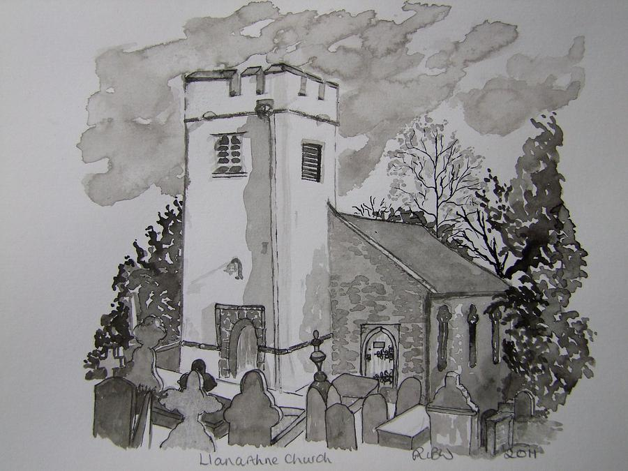 Churches Painting - Pen And Ink-llanarthne Church-01 by Pat Bullen-Whatling