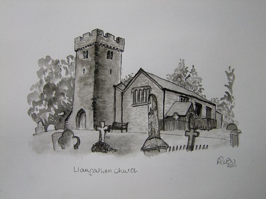 Churches Painting - Pen And Ink-llangathen Church-01 by Pat Bullen-Whatling