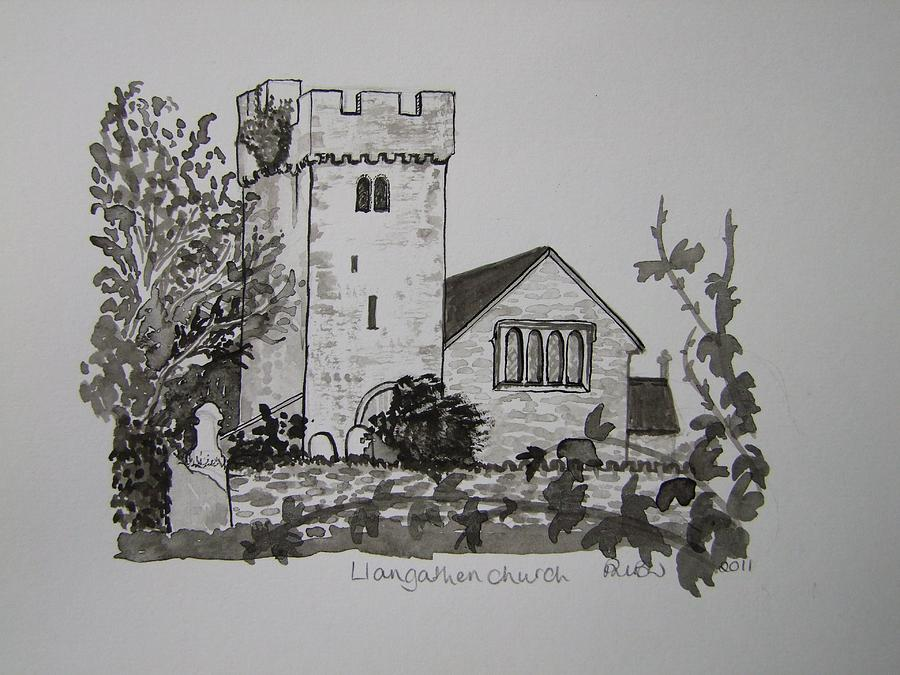 Churches Painting - Pen And Ink-llangathen Church-02 by Pat Bullen-Whatling