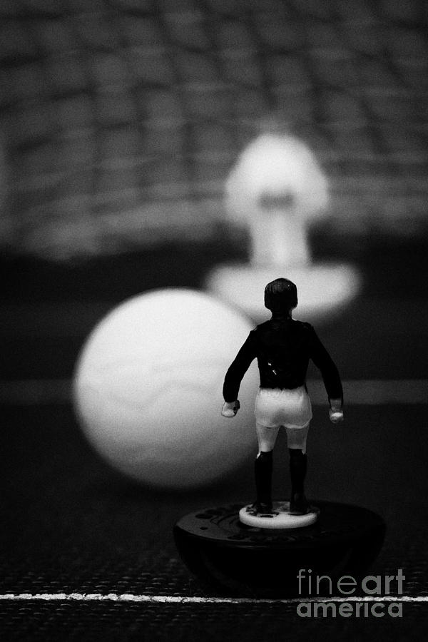 Table Photograph - Penalty Kick Football Soccer Scene Reinacted With Subbuteo Table Top Football Players Game by Joe Fox
