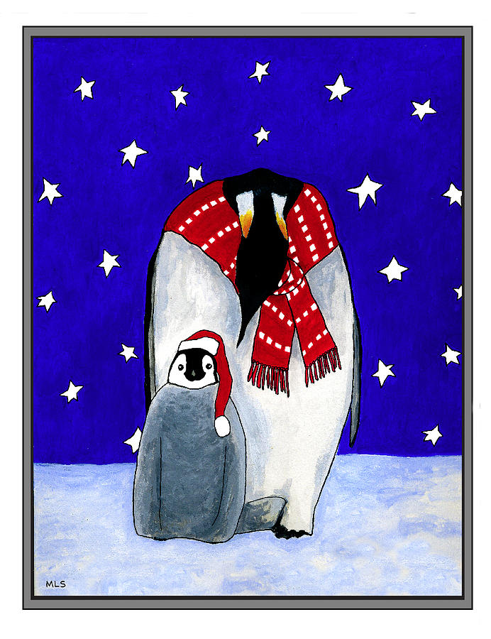 Penguins Painting - Penguins First Christmas by Marla Saville
