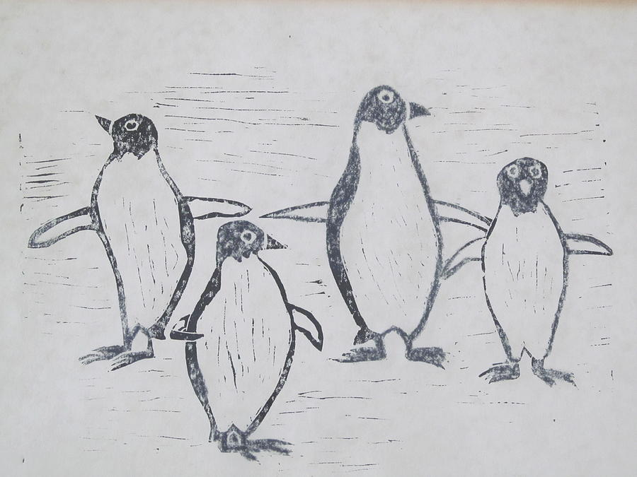 Painting Painting - Penguins by Tina M Wenger
