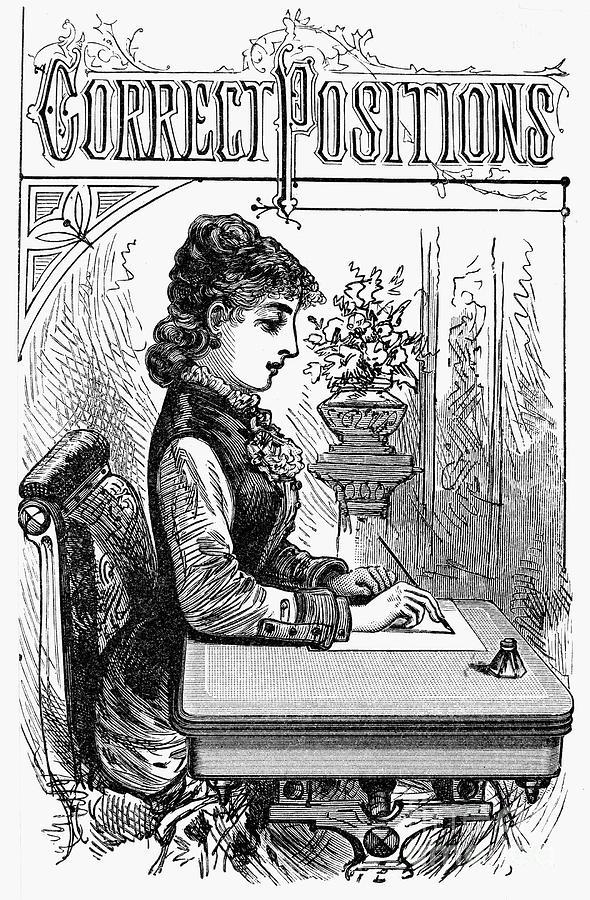 1880 Photograph - Penmanship Manual, C1880 by Granger
