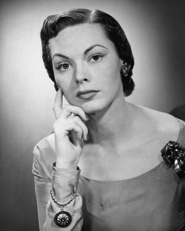Adult Photograph - Pensive Woman Posing In Studio, (b&w), Portrait by George Marks