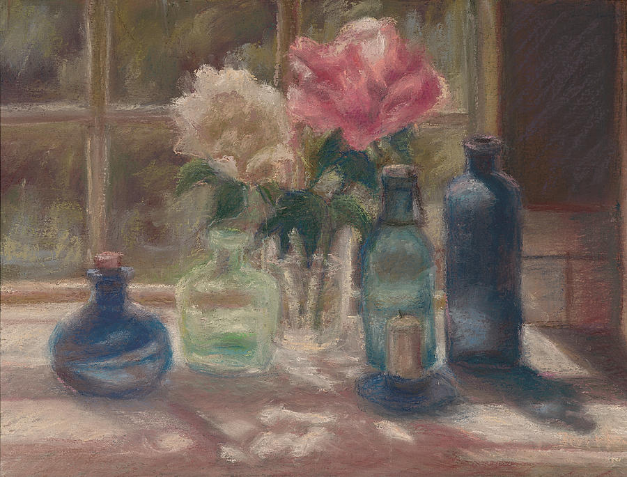Still Life Painting - Peonies And Bottles by Rita Bentley