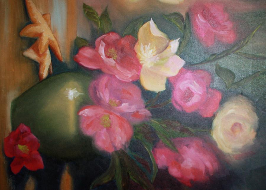 Flowers Painting - Peonies And Starfish by Julliette Salter