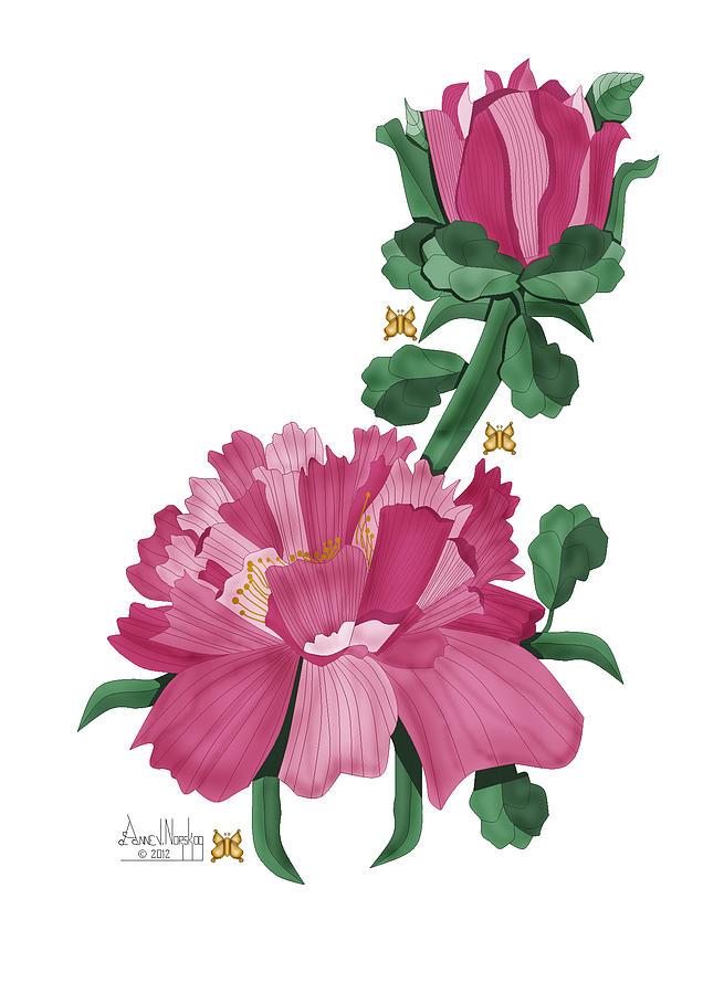 Anne Norskog Painting - Peony In Pink by Anne Norskog