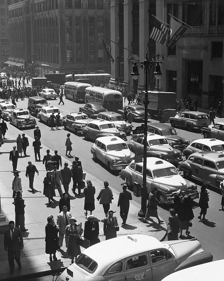 Adults Only Photograph - People On Busy City Street W/traffic by George Marks