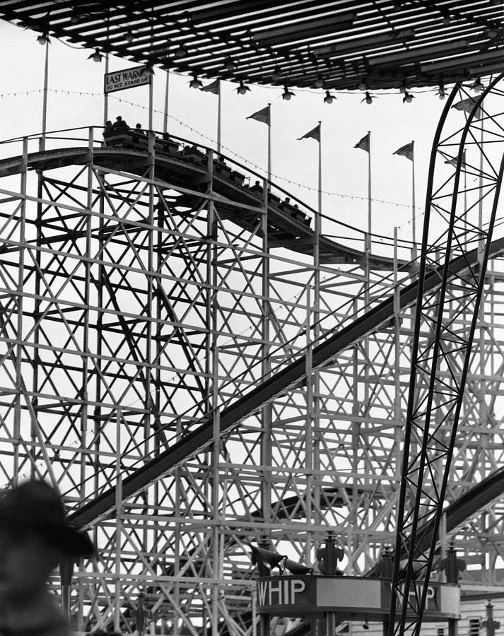 Adults Only Photograph - People On Roller Coaster by George Marks