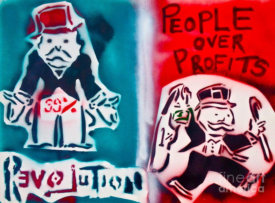 Occupy Painting - People Over Profits by Tony B Conscious