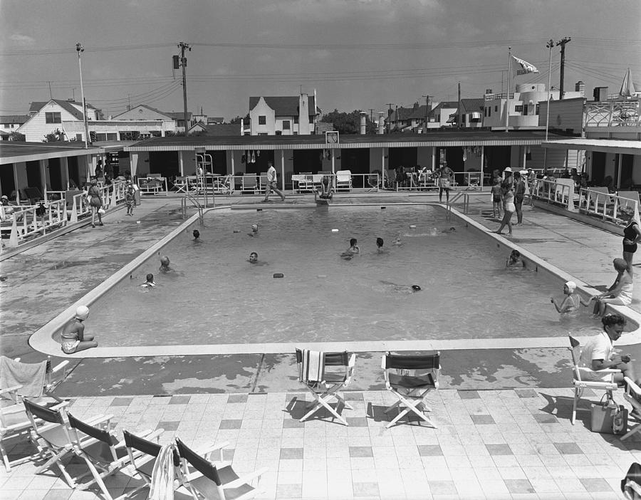 Adults Only Photograph - People Swimming In Pool, (b&w), Elevated View by George Marks