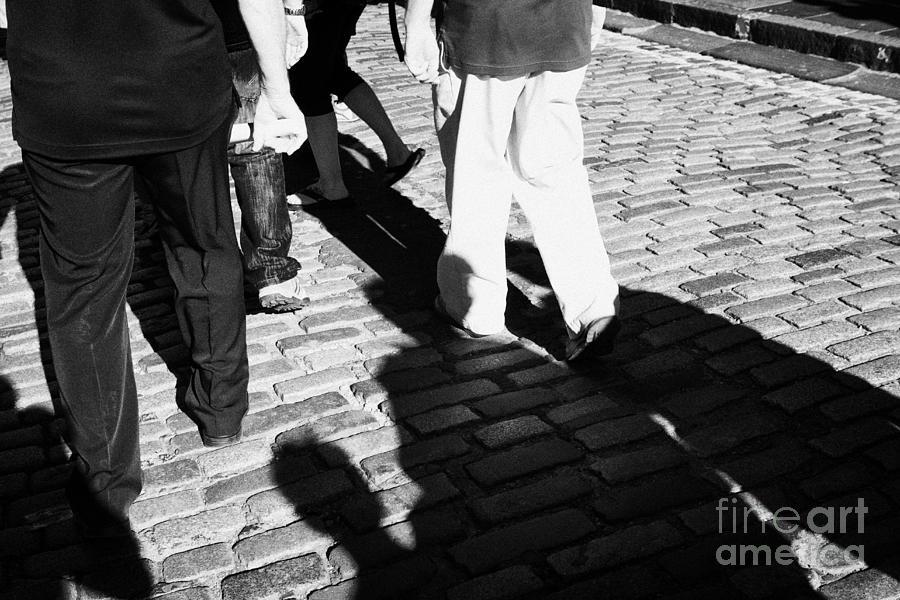 People Photograph - People Walking Along The Cobbled Streets Of Castle Hill Edinburgh Scotland Uk United Kingdom by Joe Fox