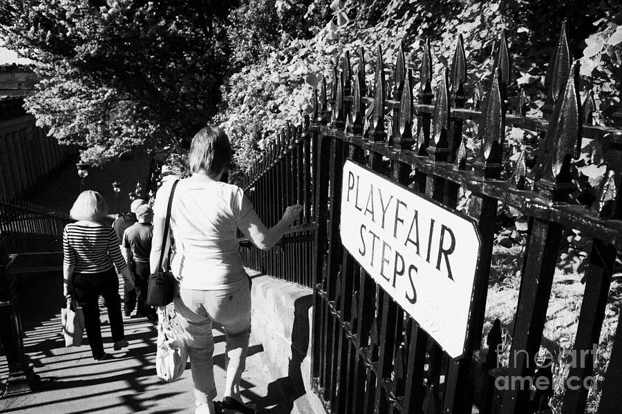 Princes Photograph - People Walking Down The Playfair Steps Down Into Princes Street Gardens Edinburgh Scotland Uk United by Joe Fox