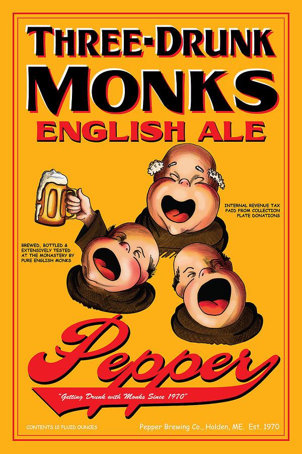 Monks Drawing - Pepper Three Drunk Monks by John OBrien