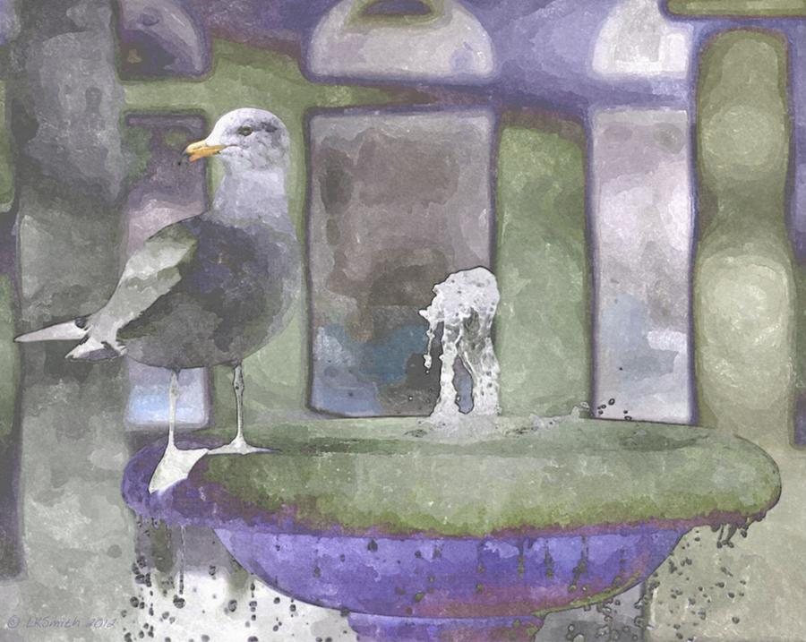 Seagull Painting - Perched by Lynda K Cole-Smith