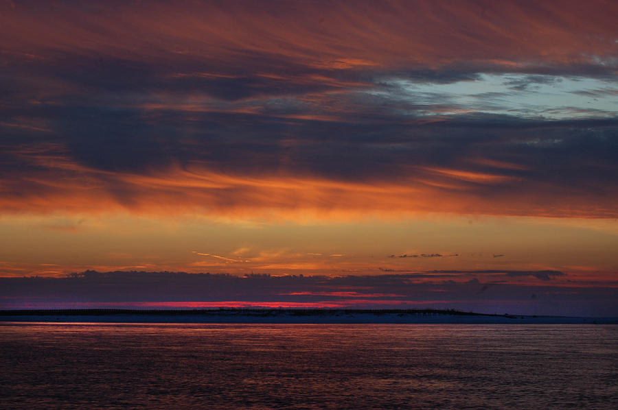 Alabama Photographer Digital Art - Perdido Pass Red Sunrise by Michael Thomas