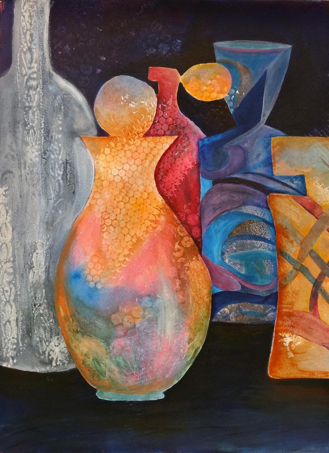 Perfume Bottles Painting - Perfume Bottles 1 by Jean Rascher