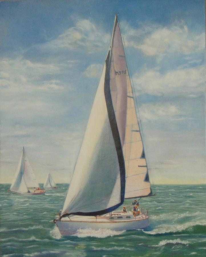 Sail Boat Painting - perpetual Motion Racing In The Atlantic by Pamela Ramey Tatum