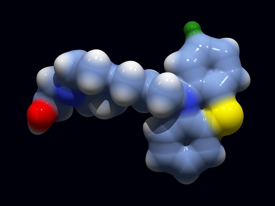 Molecule Photograph - Perphenazine Antipsychotic Drug by Dr Tim Evans