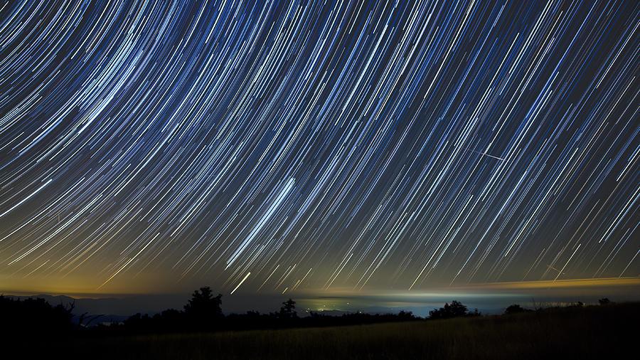 Stars Photograph - Perseid Smoky Mountain Startrails by Daniel Lowe