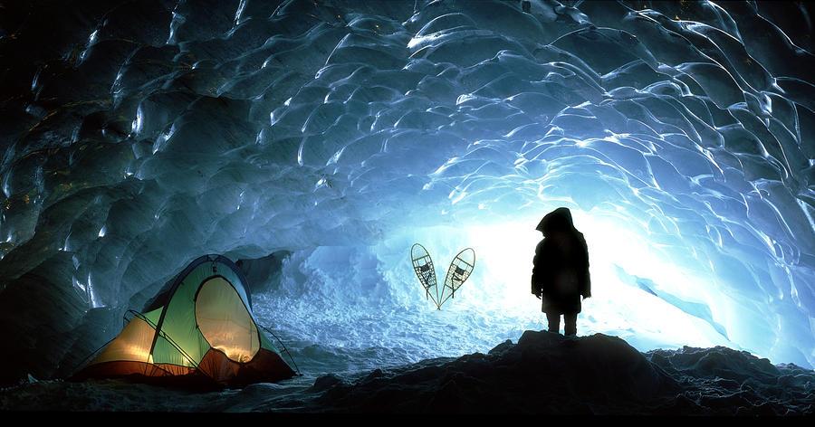 Cave Photograph - Person In Ice Cave, Appa Glacier by David Nunuk