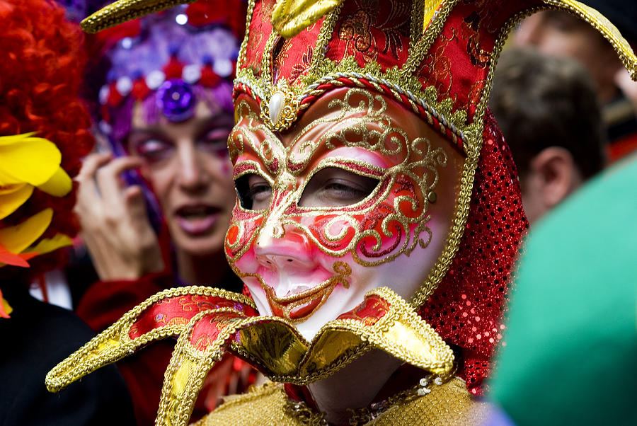 Adults Only Photograph - Person In Venetian Mask, New Orleans Mardi Gras by Ray Laskowitz