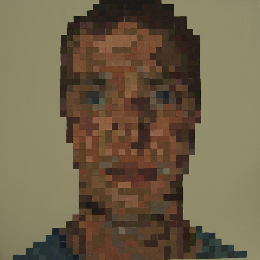 Person Pixelated Painting By Amy Astor-Lewis