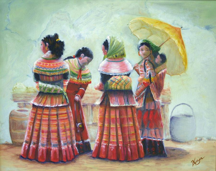 Original Painting - Peruvian Ladies by Catherine Link