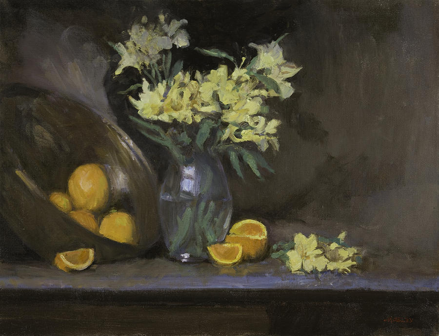 Still Life Painting - Peruvian Lilies With Oranges by Walter Lynn Mosley