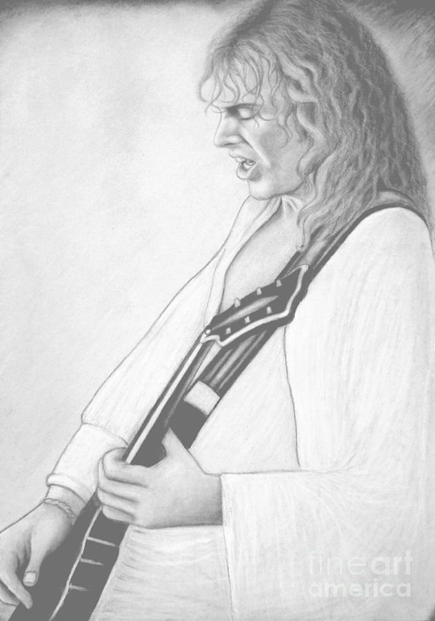 Musician Digital Art - Peter Frampton Black And White by Denise Haddock