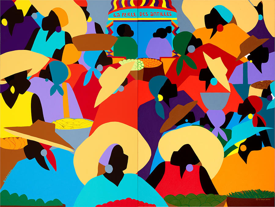 Haiti Painting - Petion-ville Market Diptych by Synthia SAINT JAMES